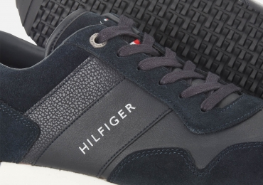 Tommy Hilfiger Men's Iconic Leather/Suede Mix Running Style Trainers – Midnight