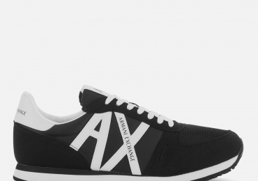 Armani Exchange Men's Retro Running Style Trainers – Black/White