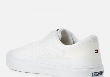 Tommy Hilfiger Men's Lightweight Stripes Knit Trainers – White