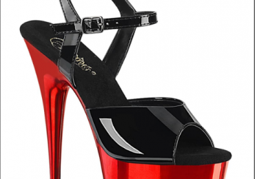 PleaserUSA Delight 609 6″ Heel Black Patent Red Chrome Platform Two To