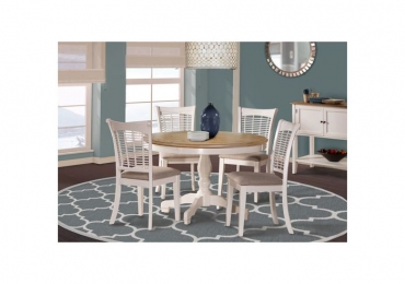 BAYBERRY WHITE ROUND TABLE + 4 SIDE CHAIRS (WHITE)