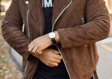 Men Brown Suede Biker Jacket