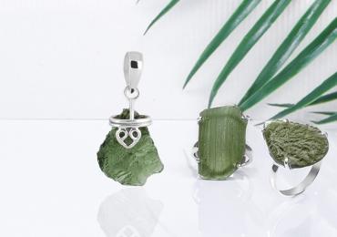 Real Moldavite Stone Rings